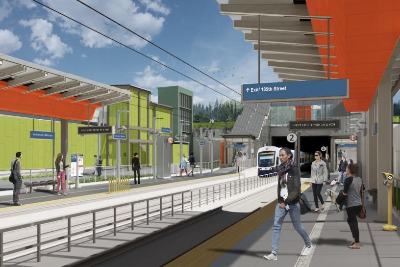 Rendering of Shoreline North/185th Station platform
