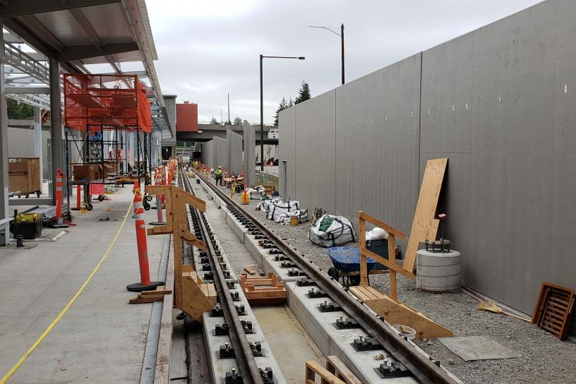 Construction photo of Mercer Island westbound track