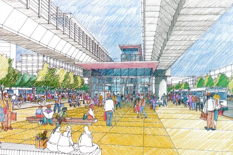 Concept sketch for Downtown Redmond Station showing elevated tracks