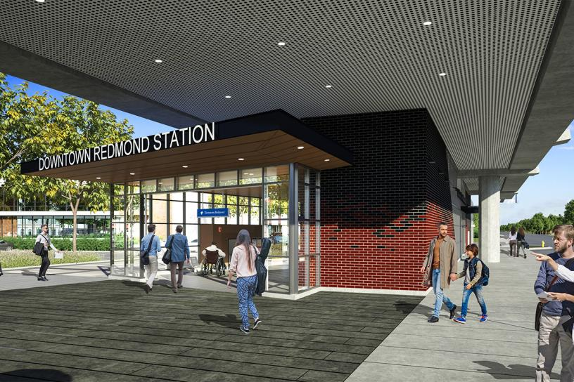Design visualization of downtown Redmond station's east entrance.