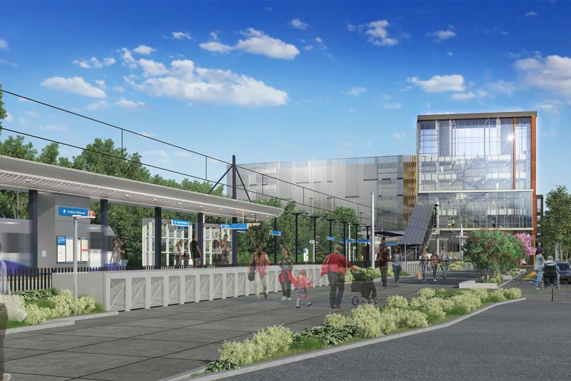 Design visualization of southeast Redmond station looking northeast.