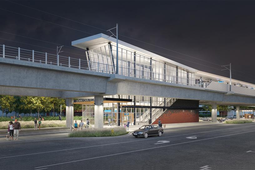 Design visualization of the downtown station's west entrance at night.