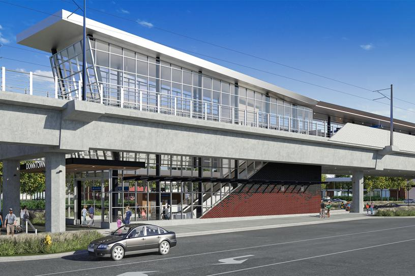 Design visualization of downtown Redmond station's west entrance.