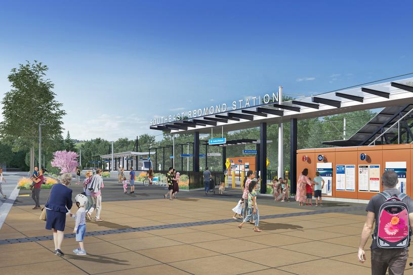 Rendering of the future southeast Redmond station plaza and drop-off pick-up area on NE 70th Street.