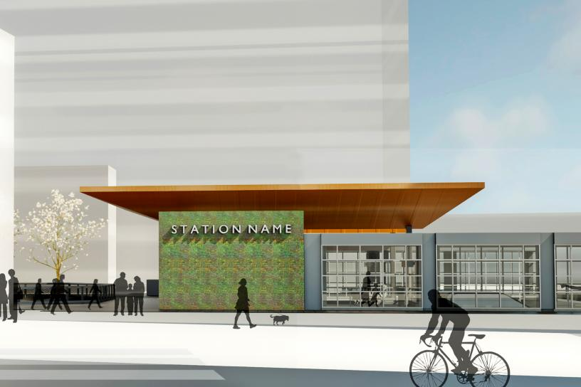 photo of Spring District/120th Station Sideview