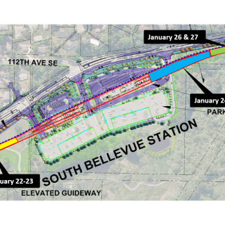 Bellevue Station girder installation map