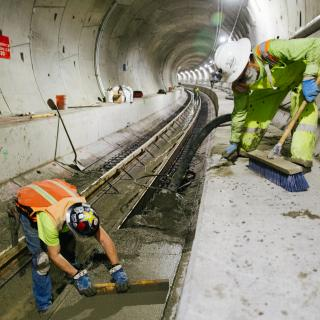 Pouring concrete in the Northgate tunnels
