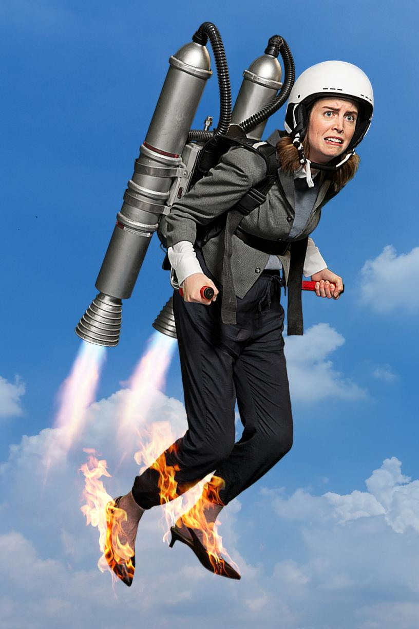 Woman in jetpack with flames on her feet.