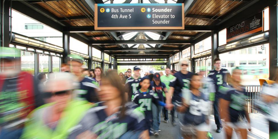 Seahawks fans leave King Street Station, heading to CenturyLink Field.