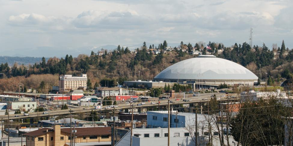 Aerial view of Tacoma Dome.