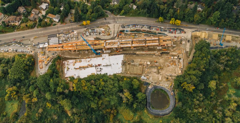 An aerial view of the future South Bellevue East Link Station under construction