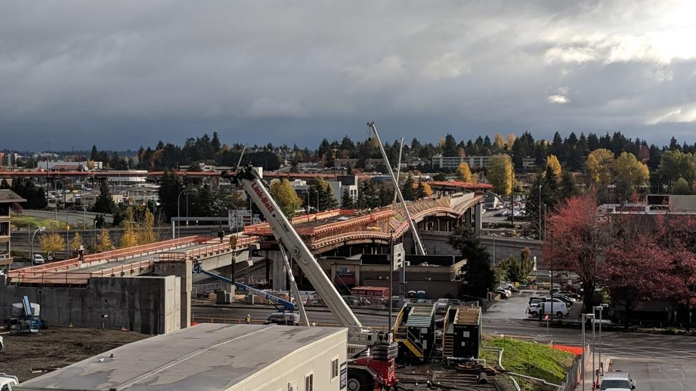 A look at the new East Link bridge crossing I-405 from downtown Bellevue.