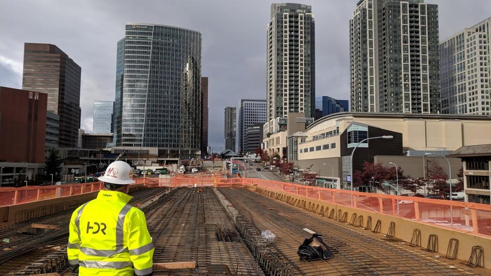A look back at downtown Bellevue from the new East Link bridge over I-405.