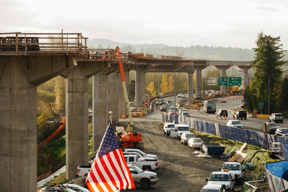 View looking south at the East Link light rail guideway from the future South Bellevue Station.