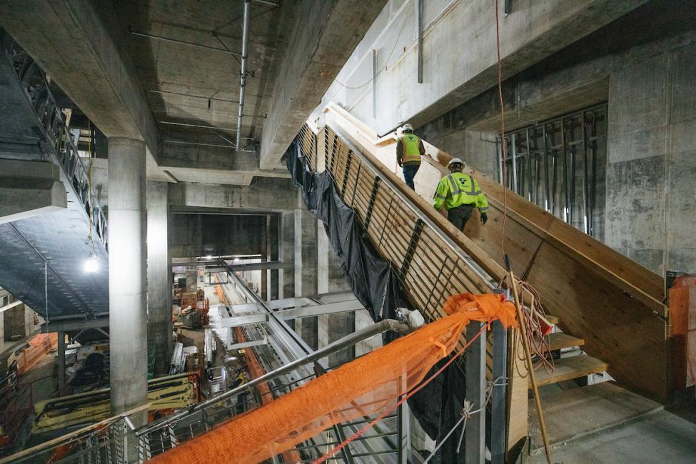 A look at some of the stairwell entrances inside the future Roosevelt Station.