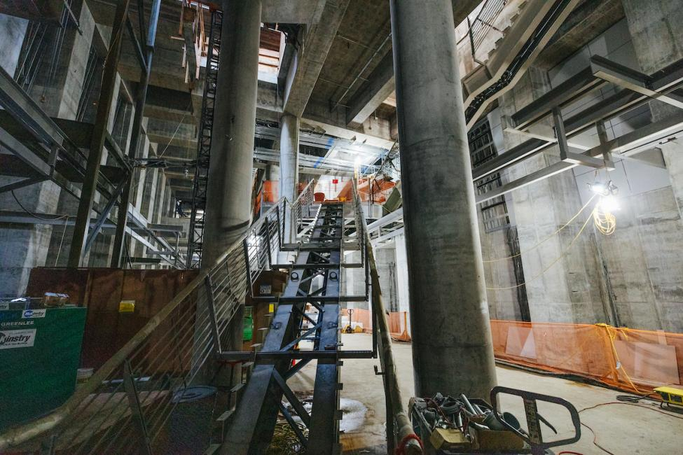 A look at a stairwell to the platform inside the future Roosevelt Station.
