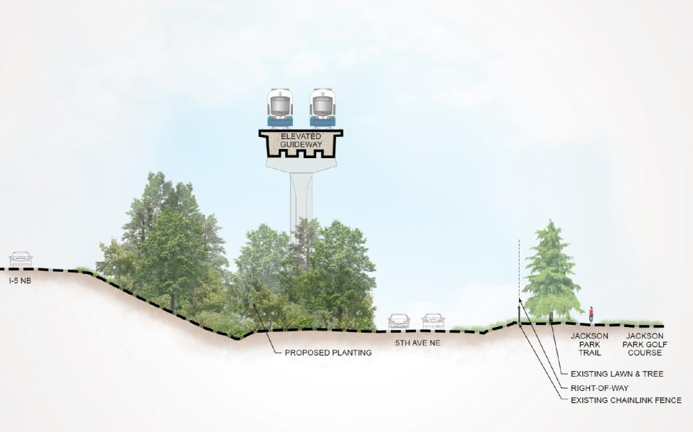An illustration of the elevated guideway and tree plantings along the Lynnwood Link route