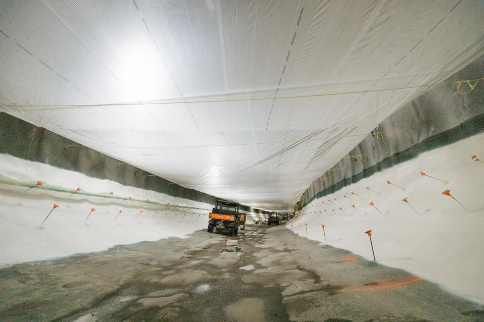 The future East Link light rail tunnel underneath downtown Bellevue with waterproofing in place