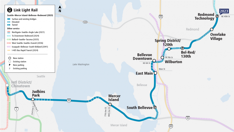 A map showing the future East Link stations and route connecting Seattle, Mercer Island, Bellevue and Overlake.
