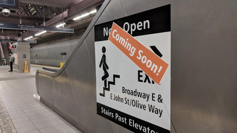 Stairs from the platform to the mezzanine will open later this year at Capitol Hill Station