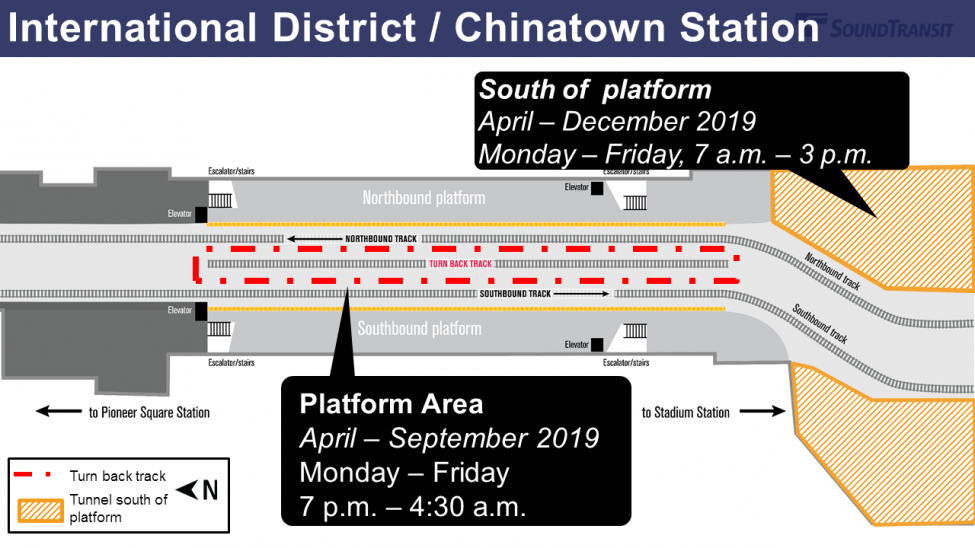 A map showing the work areas between the north and southbound platforms at International District / Chinatown Station