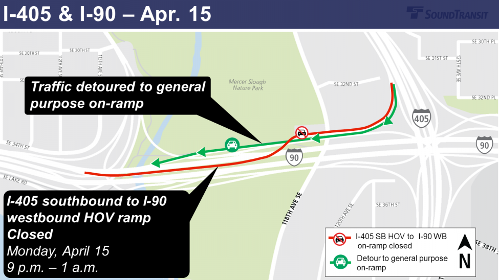 Map of traffic detours for I-405 and I-90 for Monday, April 15.