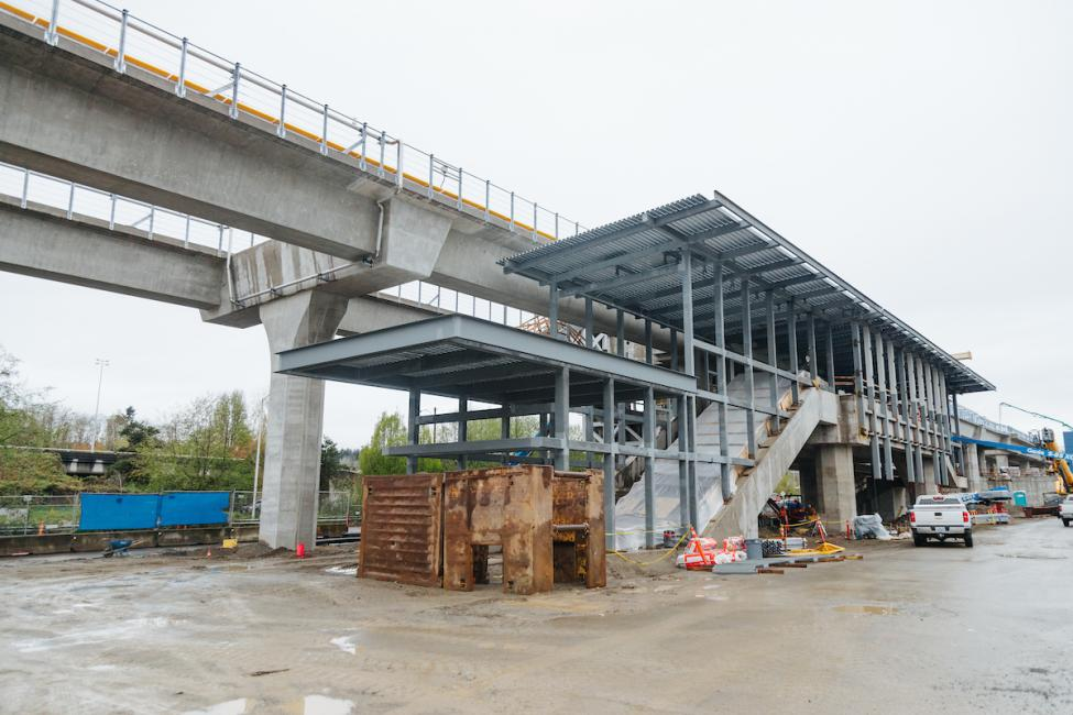 A look at Northgate Station in March, 2019 as the platform roof and station stairs come together.