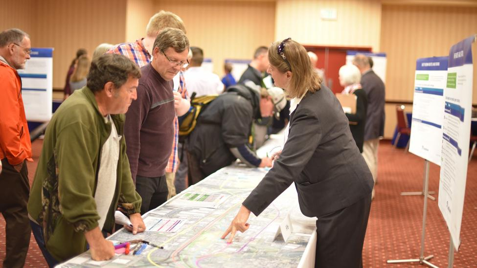 Community members attend an open house for the Tacoma Dome Link Extension project.
