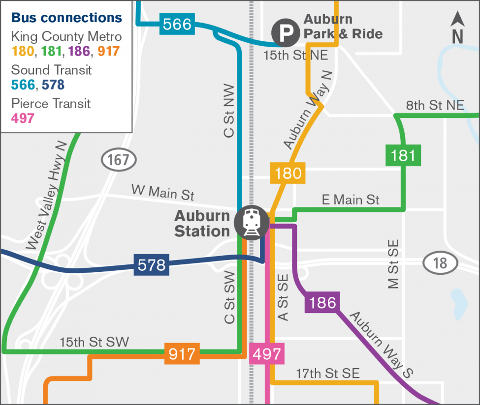Map of bus connections for Auburn Station.