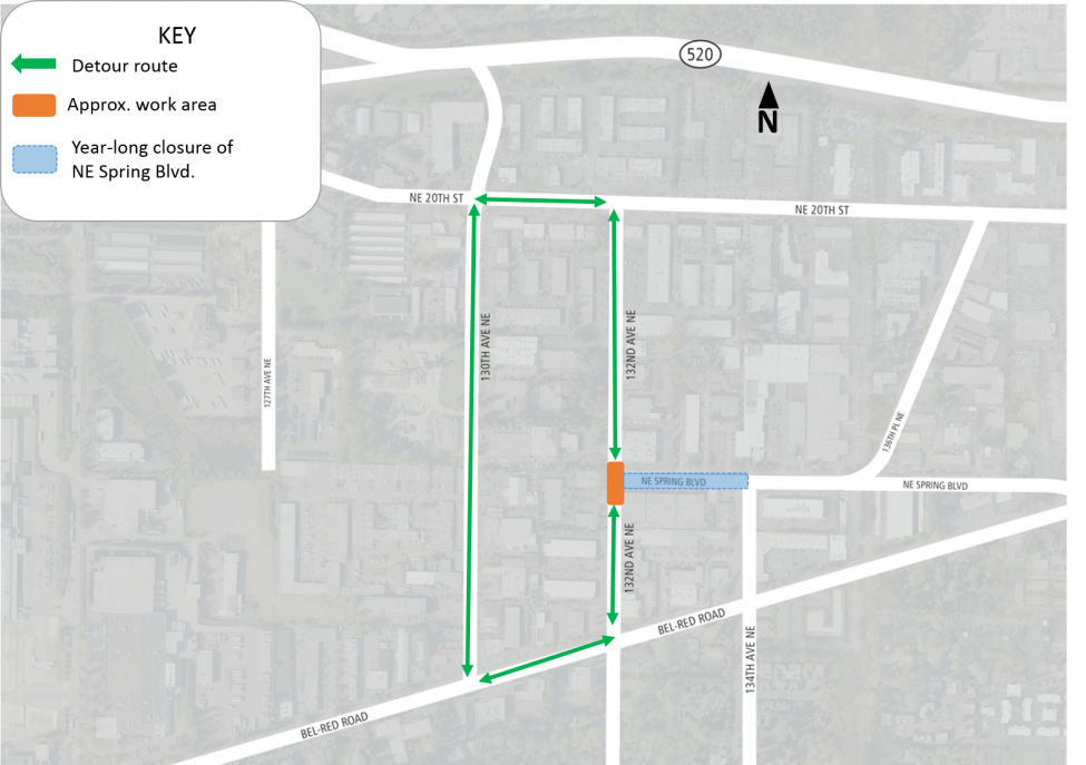 Map of intersection closure of 132nd Avenue Northeast and Northeast Spring Boulevard.