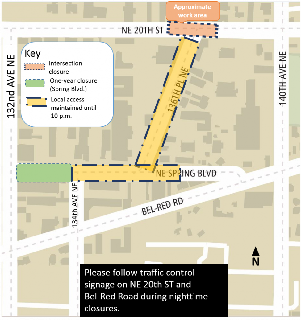 Map of construction impacts on NE 20th St and 136th PL NE.
