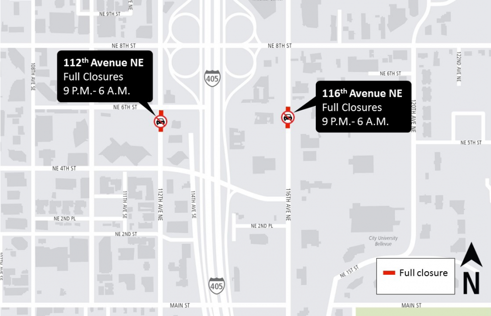 Map of 112th and 116th Avenues Northeast closures.