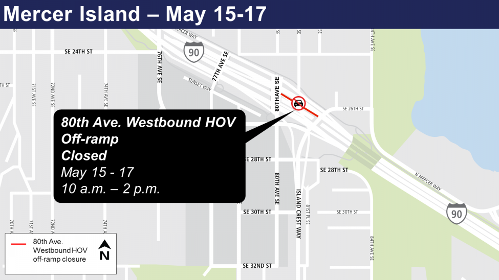 Map of 80th Avenue Westbound HOV off-ramp closures.