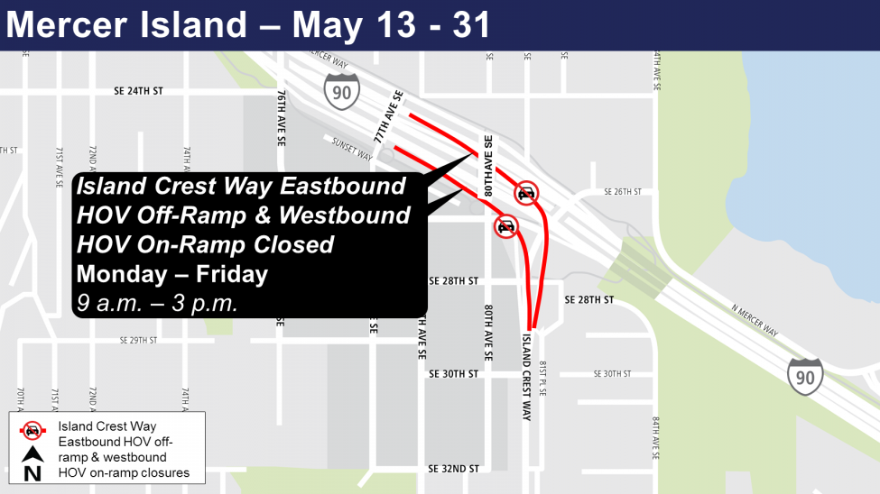 Map of Island Crest Way ramp closures.