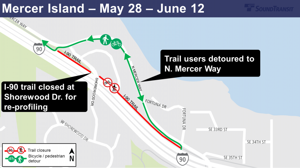 Map of I-90 Shorewood Trail closure and detour.