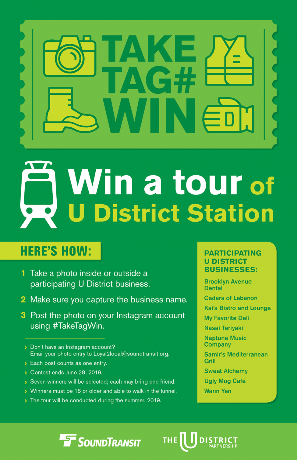 U District Station tour contest flyer take, tag, win.