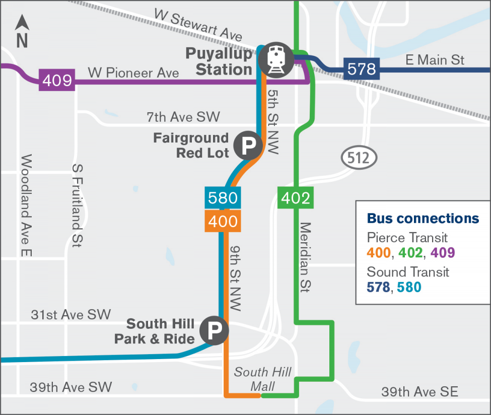 Map of bus connections for Puyallup Station.