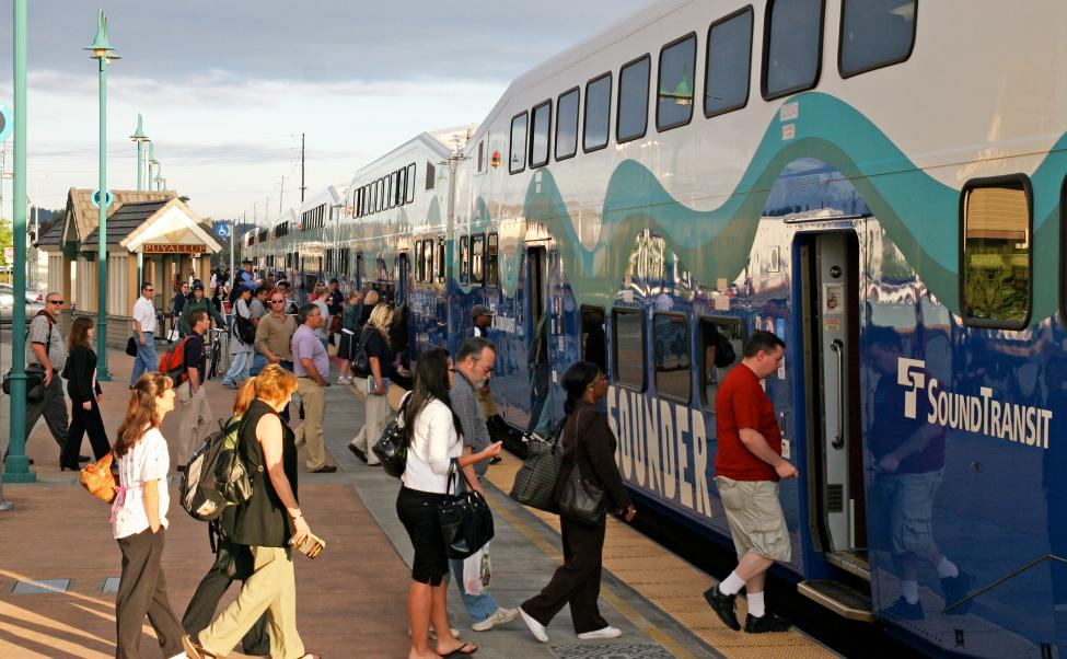 Passengers board the Sounder train at the Puyallup Station.