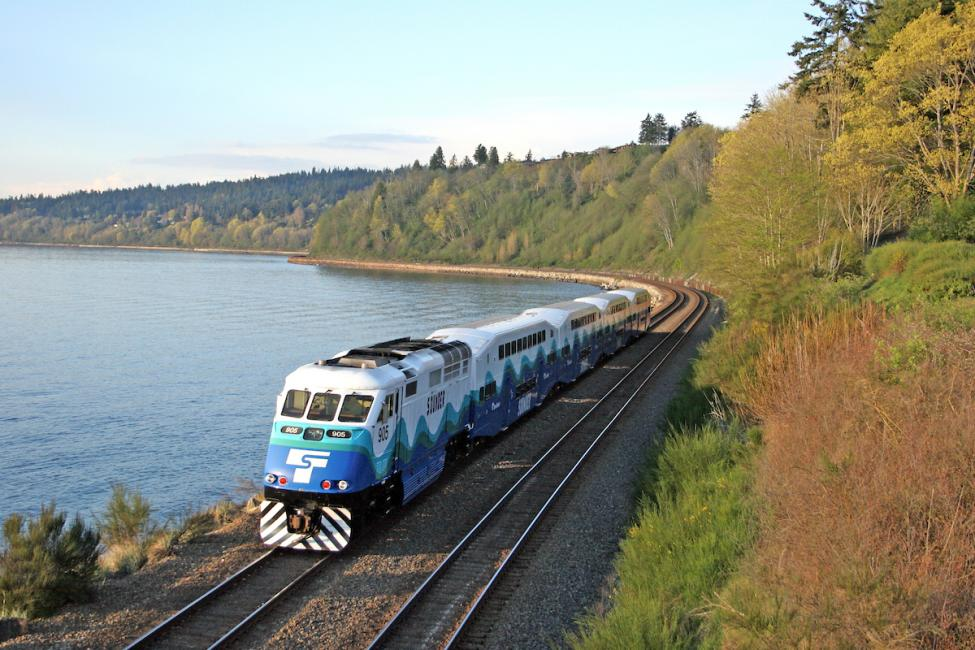 A Sounder train along the waterfront at Carkeek Park in Seattle