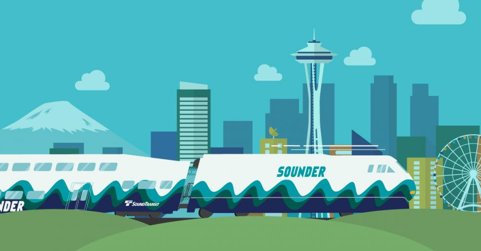 An illustration of a train headed to Seattle with the great wheel and Space Needle in the background
