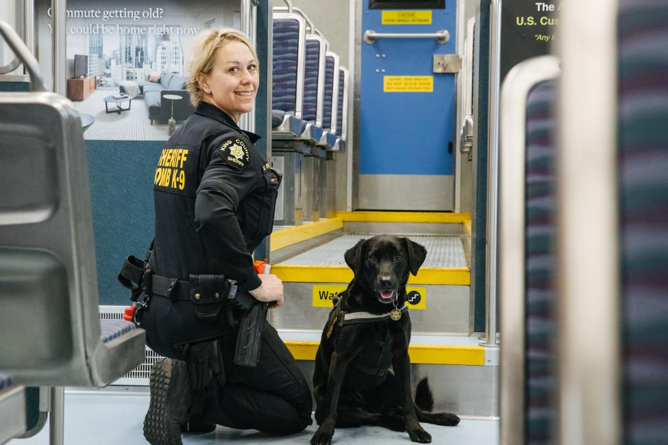 King County Sheriff Deputy Kristi Bridgman and K-9 Luna do daily checks of our trains.