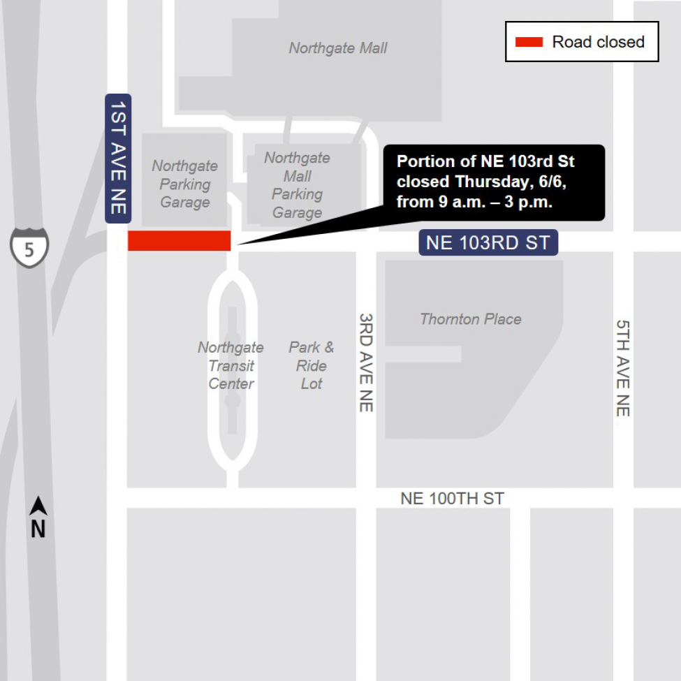 Map of Northeast 103rd Street closure in Northgate.