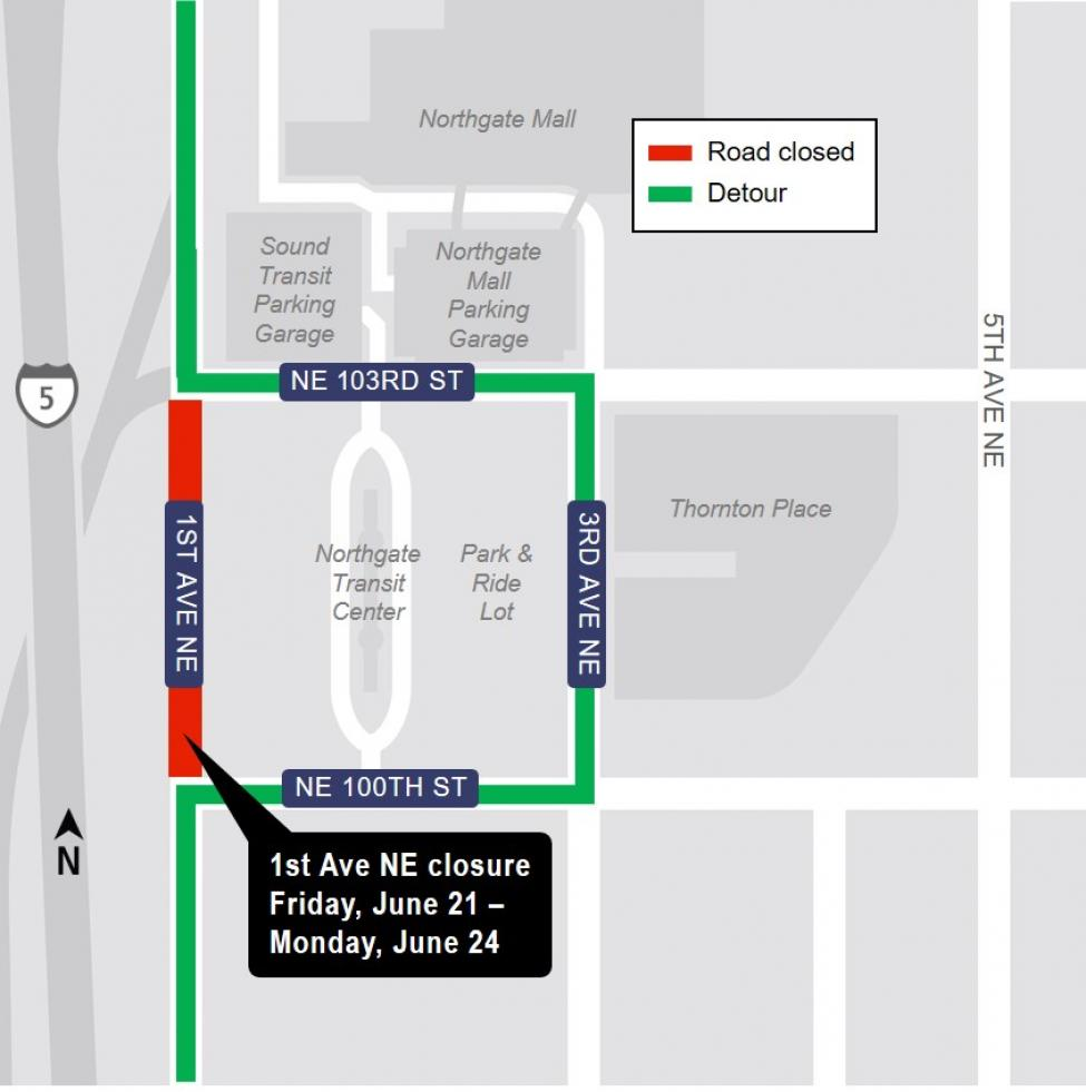 Map of 1st Avenue Northeast closure.