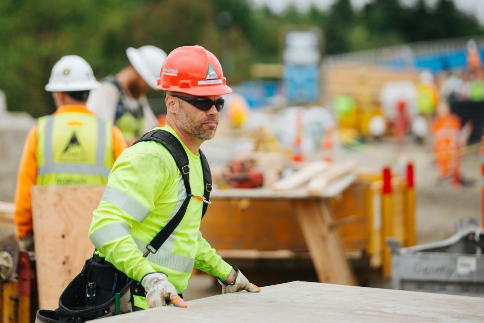 TERO graduate Richard Laffey works on the Overlake Village Station in Redmond.