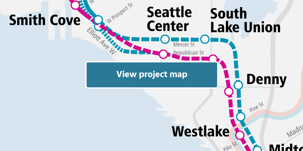 Cropped map of West Seattle and Ballard project map