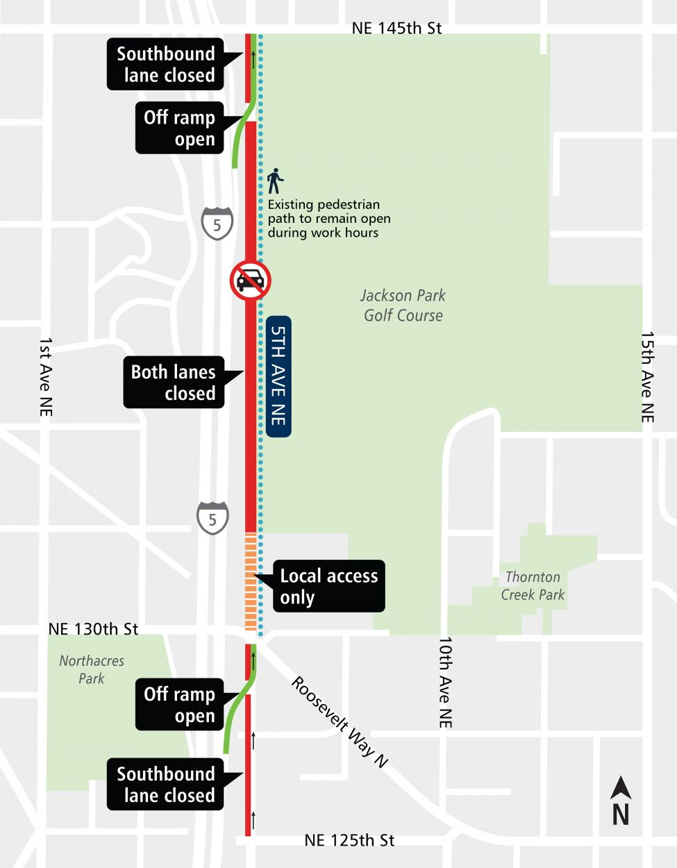 Map of 5th Ave NE road closure