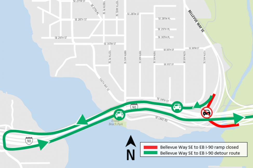 Map of Bellevue Way Southeast to eastbound I-90 ramp closure detour.