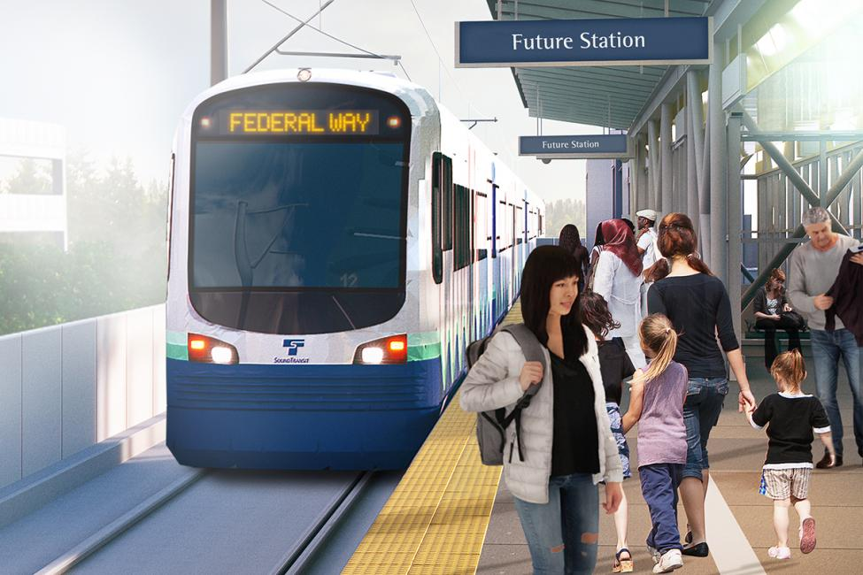 Conceptual image of a future Federal Way Link Extension station.
