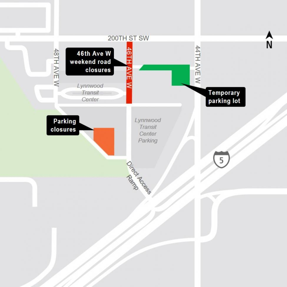 Map of 46th Avenue West and Lynnwood Transit Center parking closures.