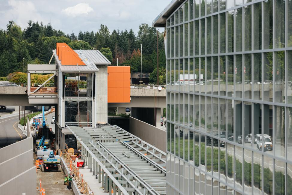 The Mercer Island light rail station is nearing completion.